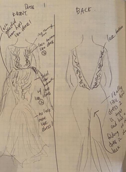 wedding dress sketch 1